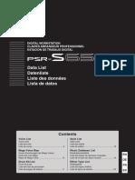 PSR-S650 Data List