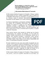 Comunicado de apoyo a Venezuela del Joint Trade Union Movement