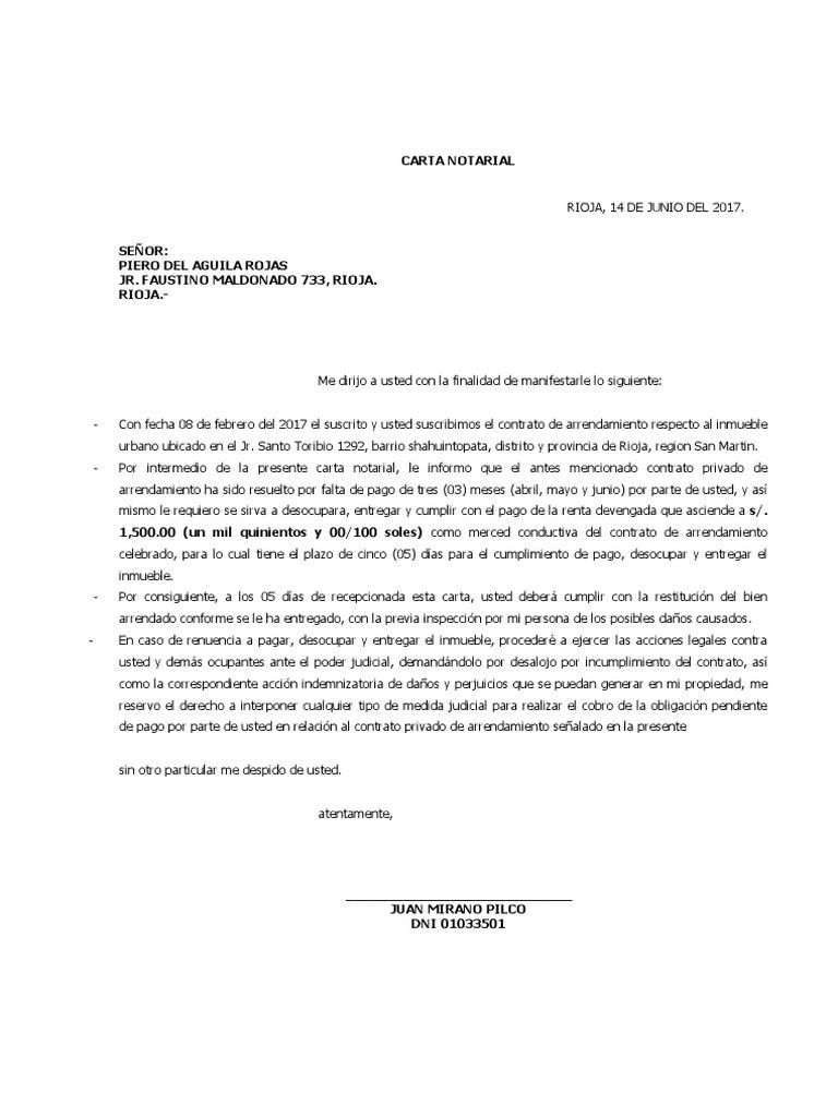 Carta Notarial Pago De Alquiler Y Restitucion De Bien Mueble