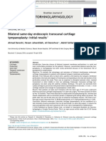 Bilateral Same-day Endoscopic Transcanal Cartilage Tympanoplasty Initial Results