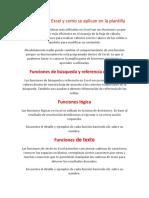 Funciones de Excel y Como Se Aplican en La Plantilla Reishell Valera Dayanis Ayos Daniela Valencia