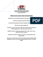 Timings for UBSC Club Champs 2017