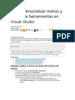 Personalizar Menús y Barras de Herramientas en Visual Studio