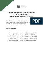 Cronograma Presentacion Documentos Bachiller