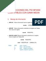 Instrucciones Del Pic18f4550 Compatibles Con Gama Media