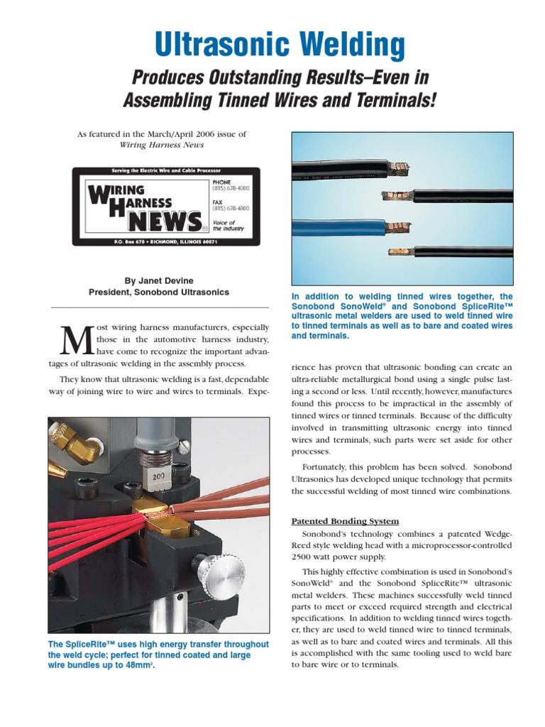 Assembling Tinned Wires Welding Ultrasound Wiring Harness News