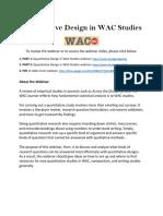 Quantitative Design in Wac Studies Screencast & Resources