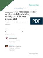 RELACIÓN DE LAS HABILIDADES SOCIALES CON LA ANSIEDAD SOCIAL Y LOS ESTILOS/TRASTORNOS DE LA PERSONALIDAD