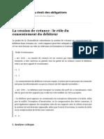 La Cession de Créance _ Le Rôle Du Consentement Du Débiteur _ Blog Réforme Du Droit Des Obligations