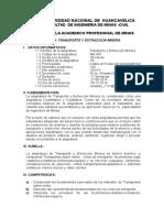 Silabo Transporte y Extraccion Minera.