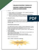 BALANCE DE MATERIA Y ENERGIA CON REACCION QUIMICA EN COMPUTADORA