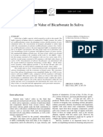 Analysis of Buffer Value of Bicarbonate in Saliva