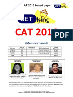 CAT 2016 Question Paper With Solution by Cetking
