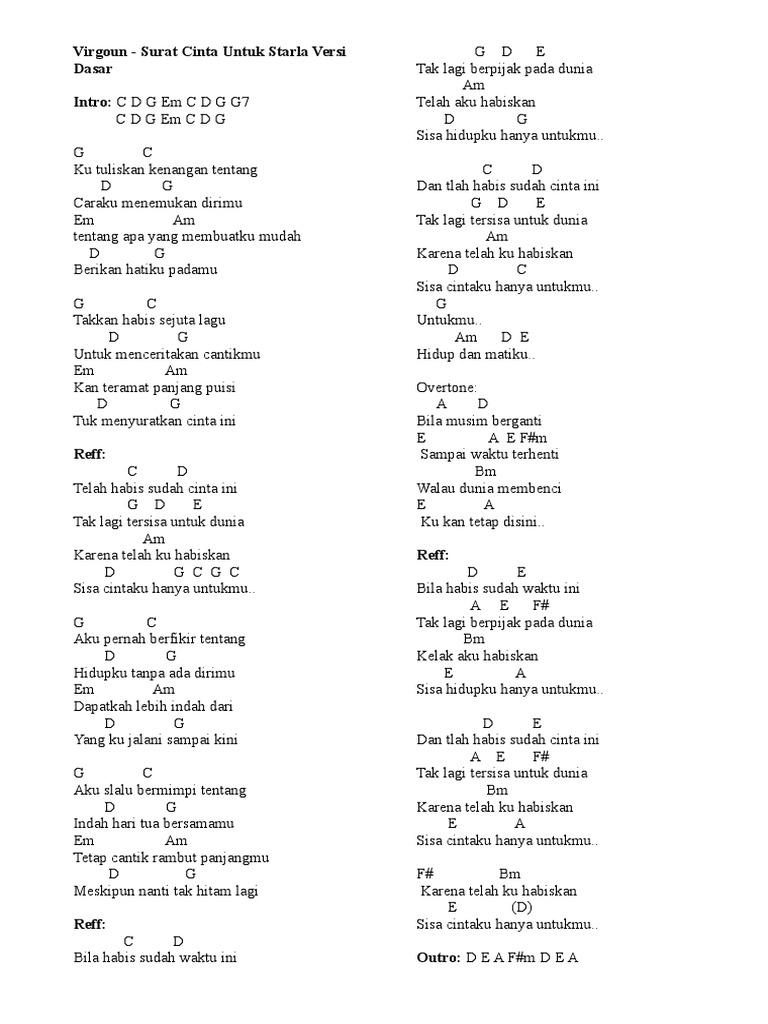 Chord Gitar Surat Cinta Untuk Starla Chord Gitar Lagu Lagu Kenangan