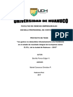 Los Gastos No Deducibles Tributariamente y Su Incidencia en El Estado de Resultado Integral de La Empresa Sismo E.I.R.L. de La Ciudad de Huánuco – 2015