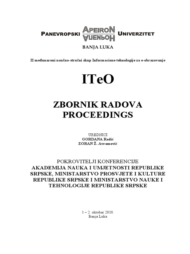 Iteo 2010 Zbornik Radova Tehnike Nauke Integrated Electronics Analog And Digital Circuits