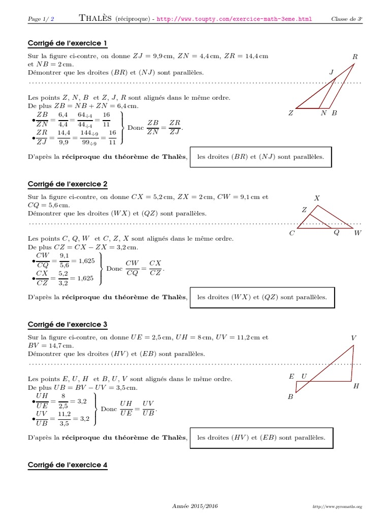 Reciproque Theoreme Thales 3 Corrige Euclide Geometrie Euclidienne