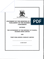 Statement by the Minister of Finance to Parliament on the Tibet Hima Kilembe mining concession