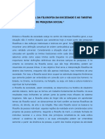 Horkheimer, M - A Situação Atual Da Filosofia Da Sociedade e as Tarefas de Um Instituto de Pesquisa Social