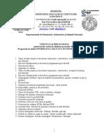Tematica Master IAST Admitere 2015