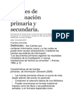 Fuentes de Información Primaria y Secundaria