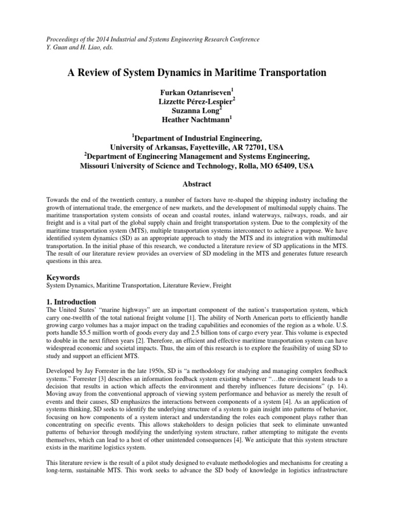 A Review of System Dynamics in Maritime Transportation