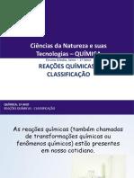 Reações Químicas - classificação