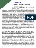 """Robert Kurz - Entrevista à Revista on-line """"Telepolis"""""""