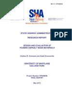 MD 13 SP909B4E Foamed Asphalt Base Materials Report