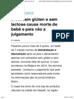 Dieta sem glúten e sem lactose causa morte de bebê e pais vão a julgamento