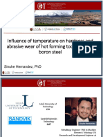 Influence of Temperature on Hardness and Abrasive Wear CIG 2017