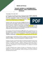 Boletin de Prensa IAIP Desarrolla Taller Para Periodistas
