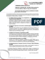 Comunicado 03-2017 | Contraloría exhorta a INDECOPI, OSITRAN, MTC, SUTRAN y Municipalidad de Lima a garantizar servicios públicos vitales en época de emergencias