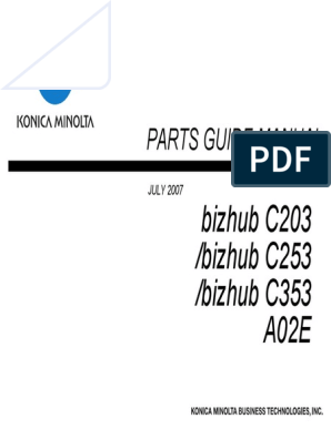 Konica Minolta Bizhub C203 C253 C353 Parts Manual pdf