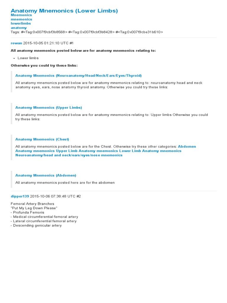 Human Anatomy Mnemonics Choice Image - human body anatomy