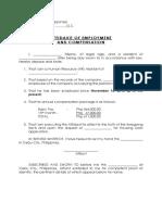 Affidavit of Employment and Compensation