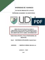 Principales Patologías GyOs en Pacientes Atendidas en El Servicio de Emergencia