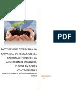 FACTORES QUE DTERMINAN LA CAPACIDAD DE REMOCION DEL CARBON ACTIVADO EN LA ADSORCION DE ARSENICO, PLOMO EN AGUAS CONTAMINADAS