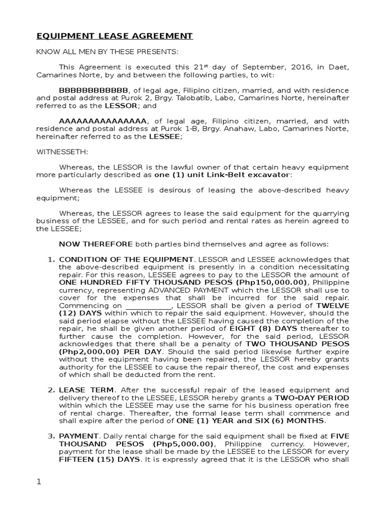 Equipment Lease Agreement Assignment Law Lease