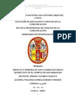 Impacto y Perdida de los Cuadros de Diego Quispe Titto en el Distrito de San Sebastian (Tesina)
