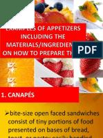 Ingredients of Preparing Appetizers
