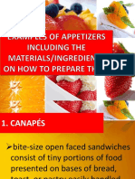 Ingredients of Preparing Appetizers