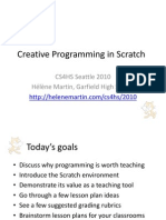 Helene Martin - CS4HS 2010 - Creative Programming in Scratch