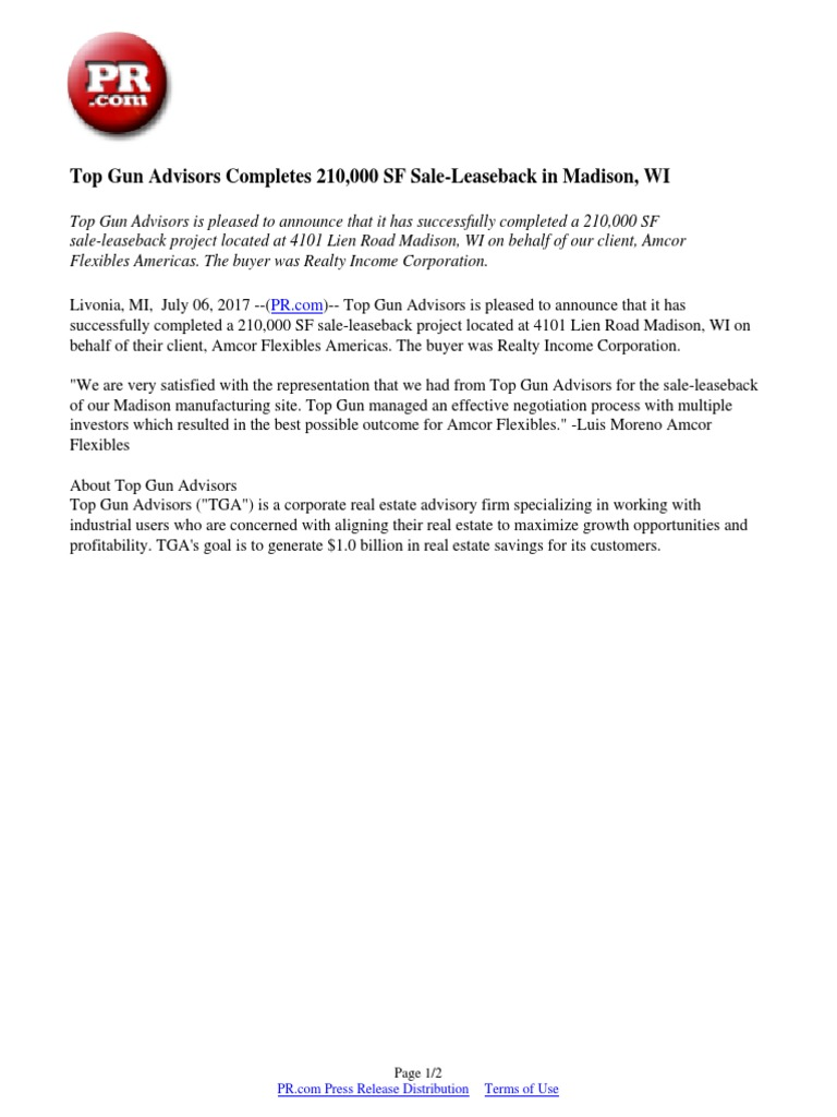 top gun advisors completes 210 000 sf sale leaseback in madison wi