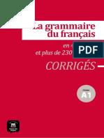la grammaire du francais a1 corriges