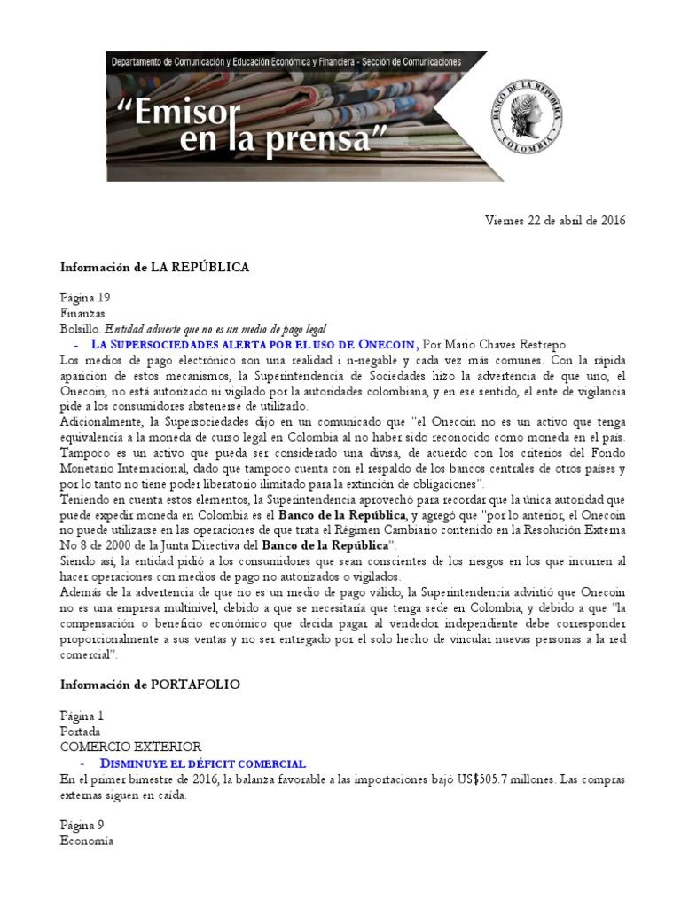 Banco Republica y Fenomeno El Niño
