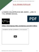 La Mara Salvatrucha Ms, Mara , y Ms-13 y El Drama Social _ Introducción Al Drama Popular