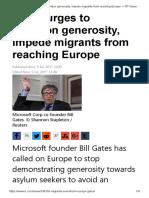 Gates Urges to Abandon Generosity, Impede Migrants From Reaching Europe