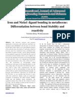 Iron and Nickel -ligand bonding in metallocene