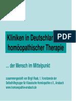 Kliniken Homoeopathische Therapie Kf 2010